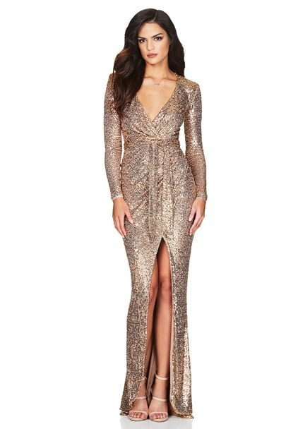 Nookie Selena Long Sleeve Gown Floor Length, Long-Sleeve, V-Neck Gold