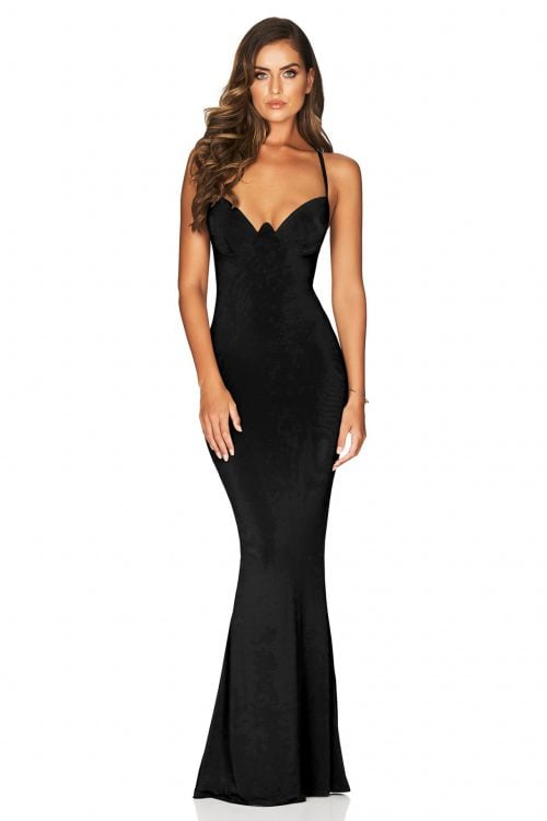 Nookie Talia Gown Backless, Floor Length, Maxi Black