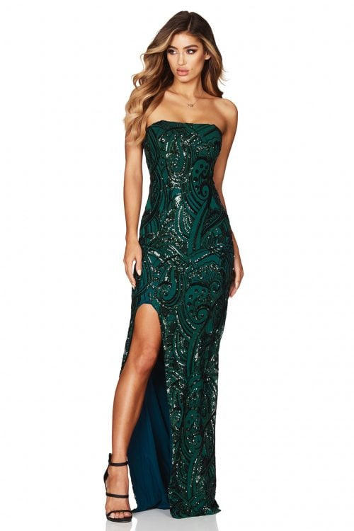 Nookie Sensation Gown Floor Length, Maxi, Strapless Emerald