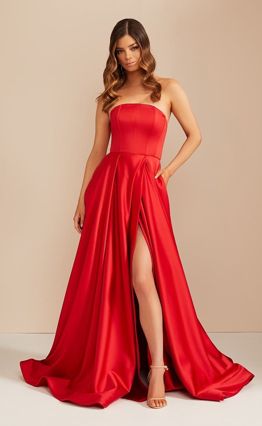 D'Lelle Nicolette Gown Floor Length, Maxi, Strapless Red