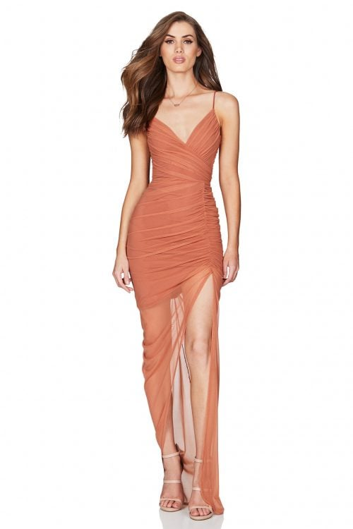 Nookie Moscow Gown Floor Length, Maxi, V-Neck Tan