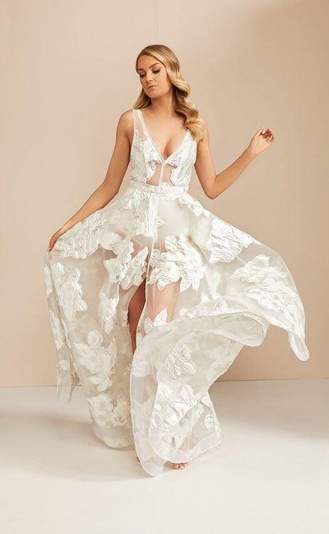 D'Lelle Eloise Gown Backless, Floor Length, V-Neck Ivory