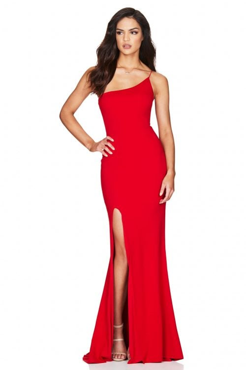 Nookie Jasmine One Shoulder Gown Floor Length Red