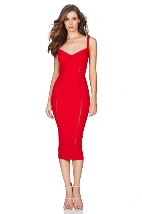 Nookie Chicago Midi Knee Length, Midi Red