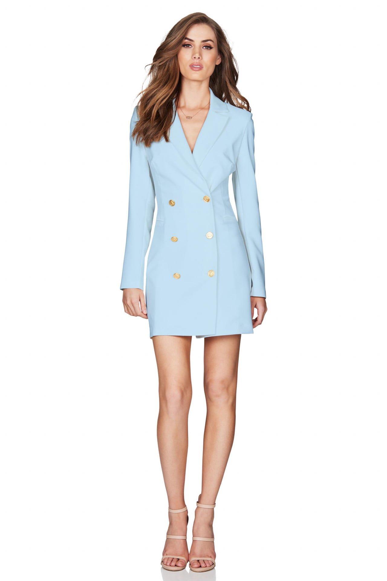 Nookie Milano Blazer Dress Long-Sleeve, Mini, V-Neck Blue