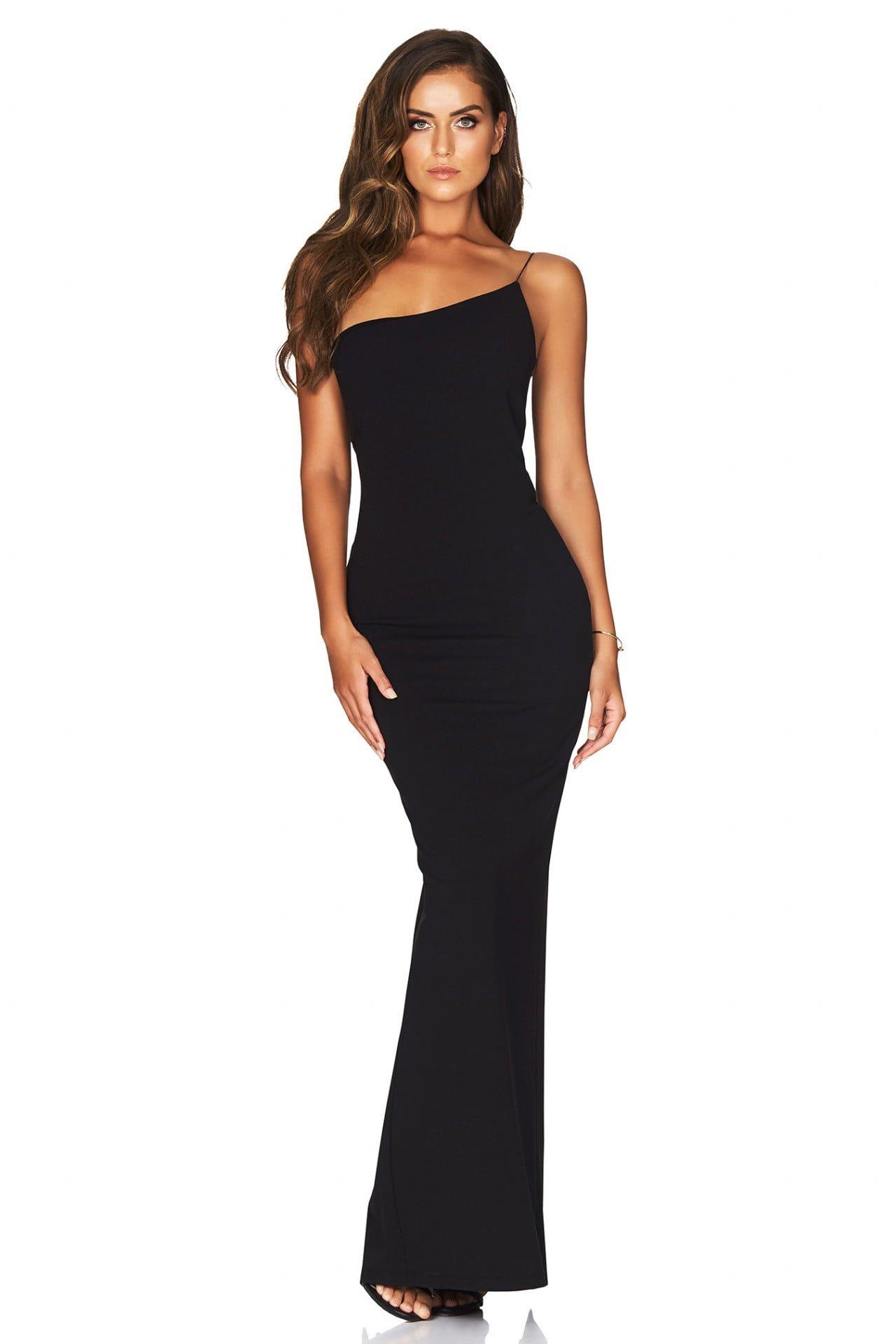 Nookie Penelope Gown Floor Length, Off-Shoulder Black
