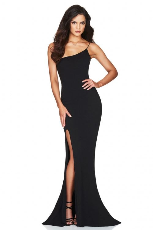 Nookie Jasmine One Shoulder Gown Floor Length Black