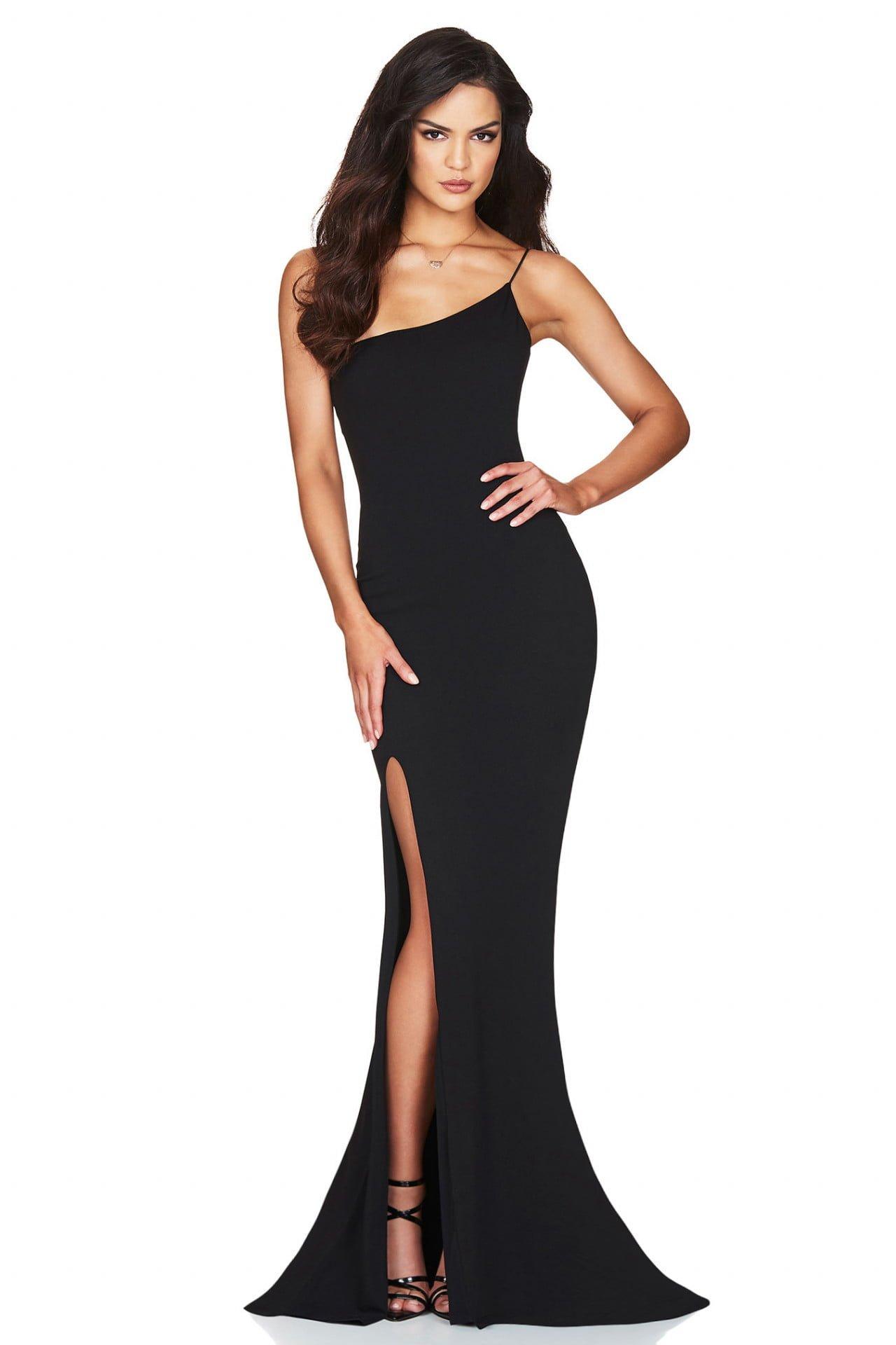 Nookie Jasmine One Shoulder Gown Floor Length Black