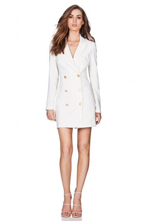 Nookie Milano Blazer Dress Long-Sleeve, Mini, V-Neck Ivory