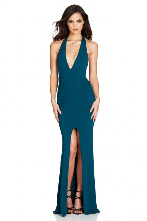Nookie Illegal Halter Gown Backless, Floor Length, V-Neck Teal