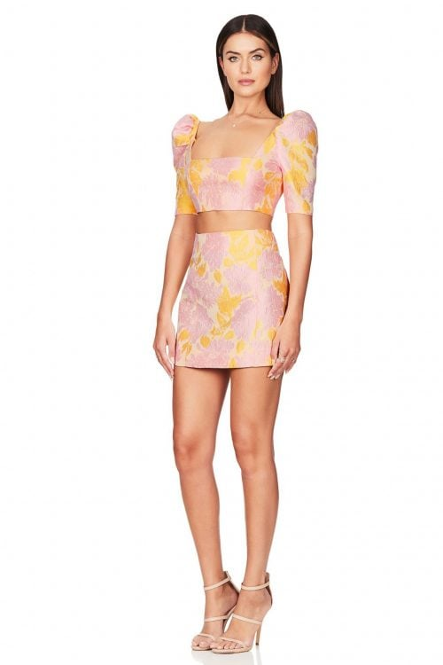 Nookie Solana Crop And Skirt Set Long-Sleeve, Mini, Two-piece Set Pink