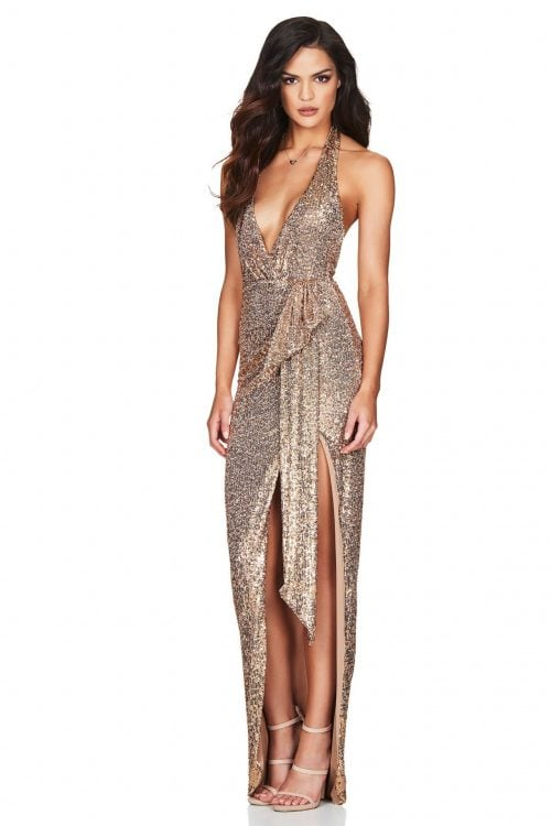 Nookie Selena Backless Halter Gown Backless, Floor Length, V-Neck Gold