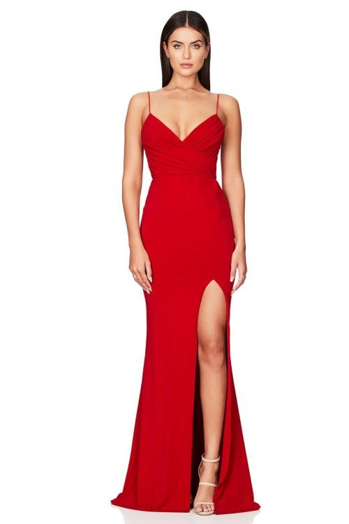 Nookie Venus Gown Floor Length, V-Neck Red