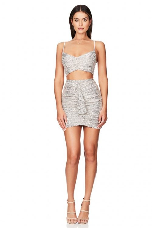Nookie Galaxy Crop And Skirt Mini, Two-piece Set Silver
