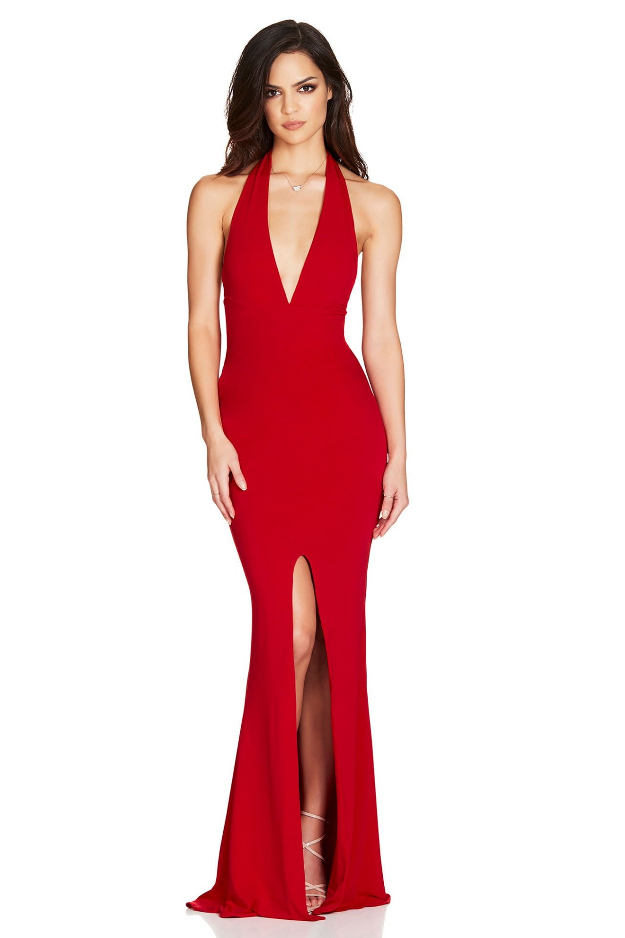 Nookie Illegal Halter Gown Backless, Floor Length, V-Neck Red