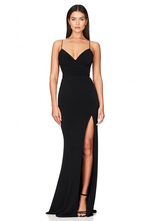 Nookie Venus Gown Floor Length, V-Neck Black