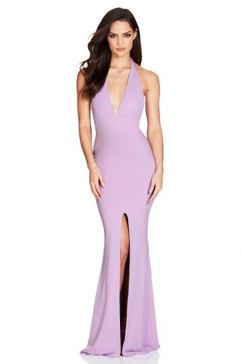 Nookie Illegal Halter Gown Backless, Floor Length, V-Neck Lilac