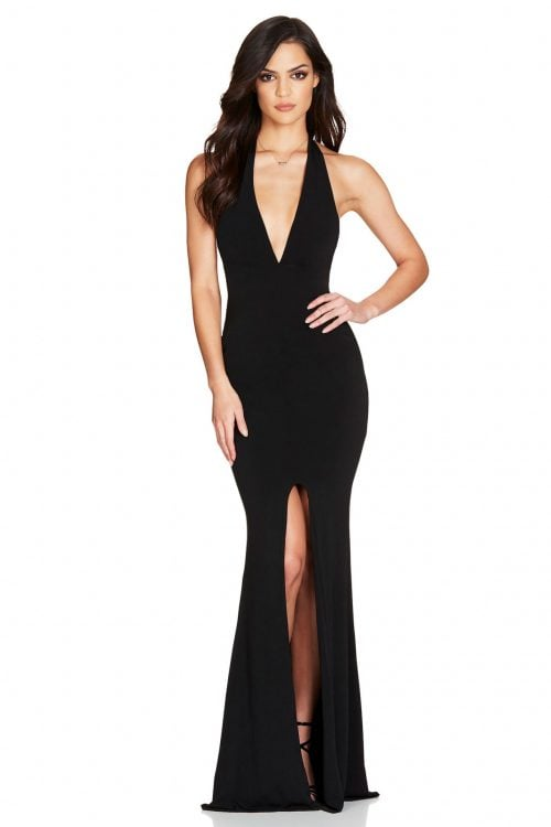 Nookie Illegal Halter Gown Backless, Floor Length, V-Neck Black