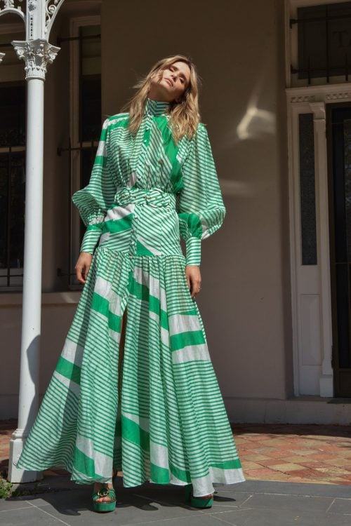 Mackenzie Mode Mackenzie Maxi Floor Length, Long-Sleeve, Maxi Green