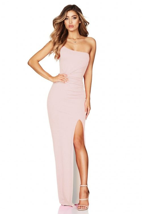 Nookie Lust One Shoulder Gown Floor Length, Off-Shoulder Blush