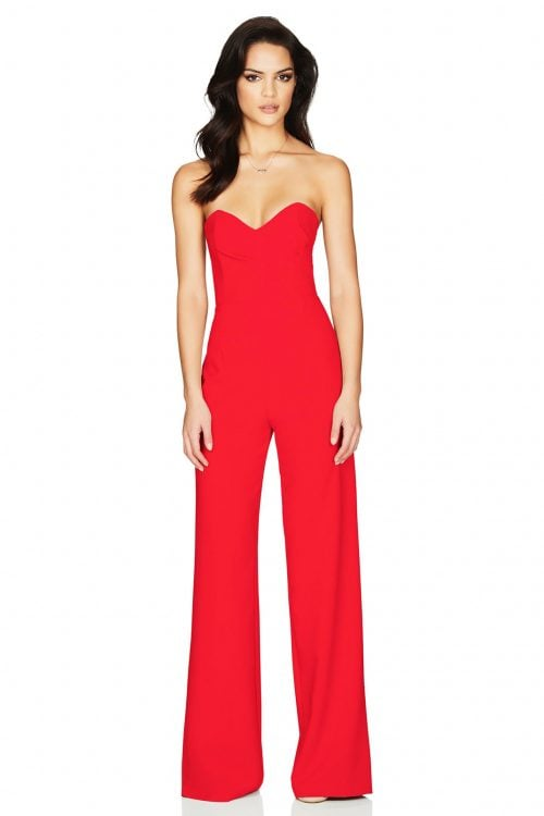 Nookie Bisous Jumpsuit Jumpsuit, Strapless Red