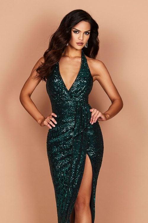 Nookie Selena Backless Halter Gown Backless, Floor Length, V-Neck Teal