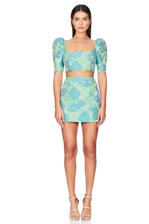 Nookie Solana Crop And Skirt Set Long-Sleeve, Mini, Two-piece Set Green