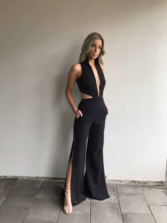 Stephanie Chehade Thunder Jumpsuit Backless, Jumpsuit, V-Neck Black