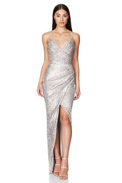 Nookie Cosmo Sequin Gown Floor Length, V-Neck Silver