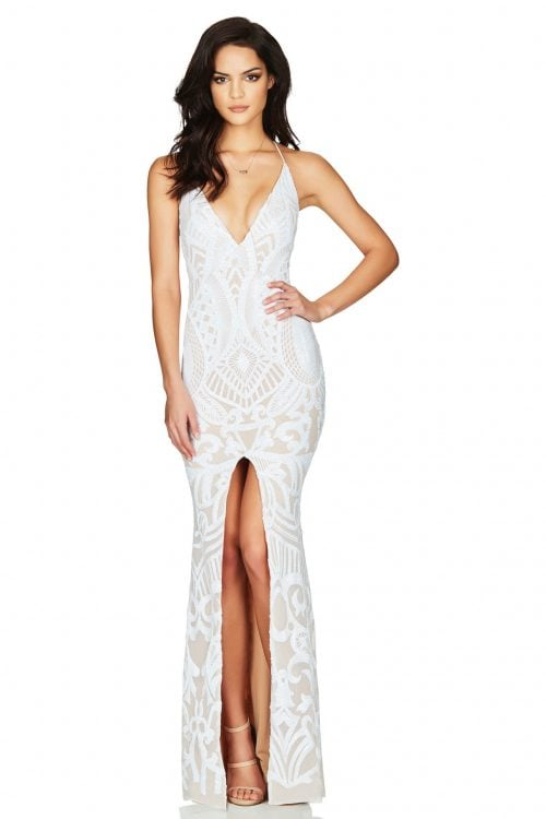 Nookie Mon Cherie Gown Backless, Floor Length, V-Neck White