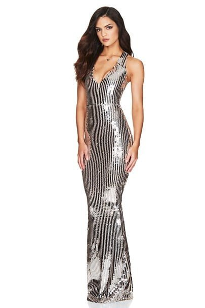 Nookie Kylie Gown Floor Length, V-Neck Silver
