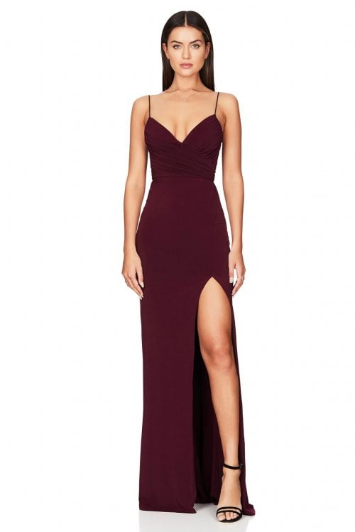 Nookie Venus Gown Floor Length, V-Neck Wine
