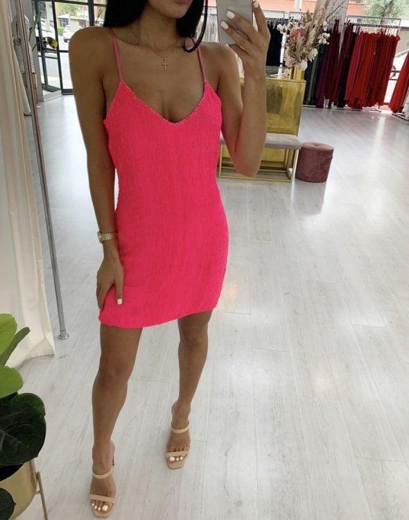 Retrofete Sequin Slip Mini Mini Pink