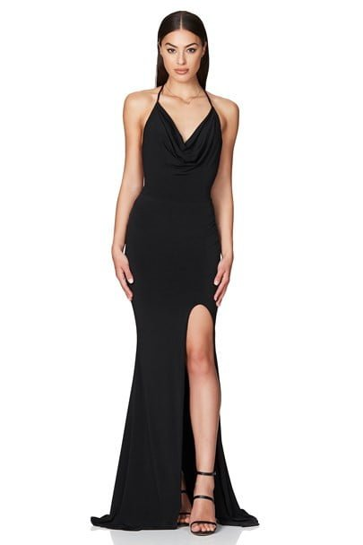 Nookie Harley Gown Backless, Floor Length, Maxi Black