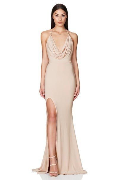 Nookie Harley Gown Backless, Floor Length, Maxi Nude