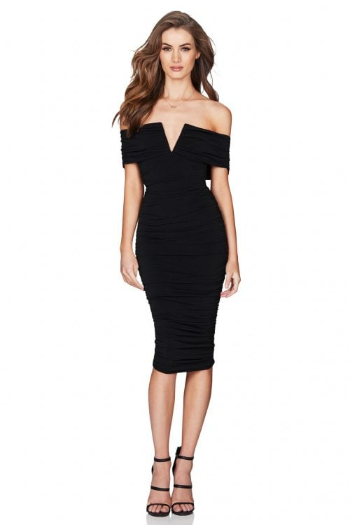 Nookie Rio Off Shoulder Midi Knee Length, Midi, Off-Shoulder Black