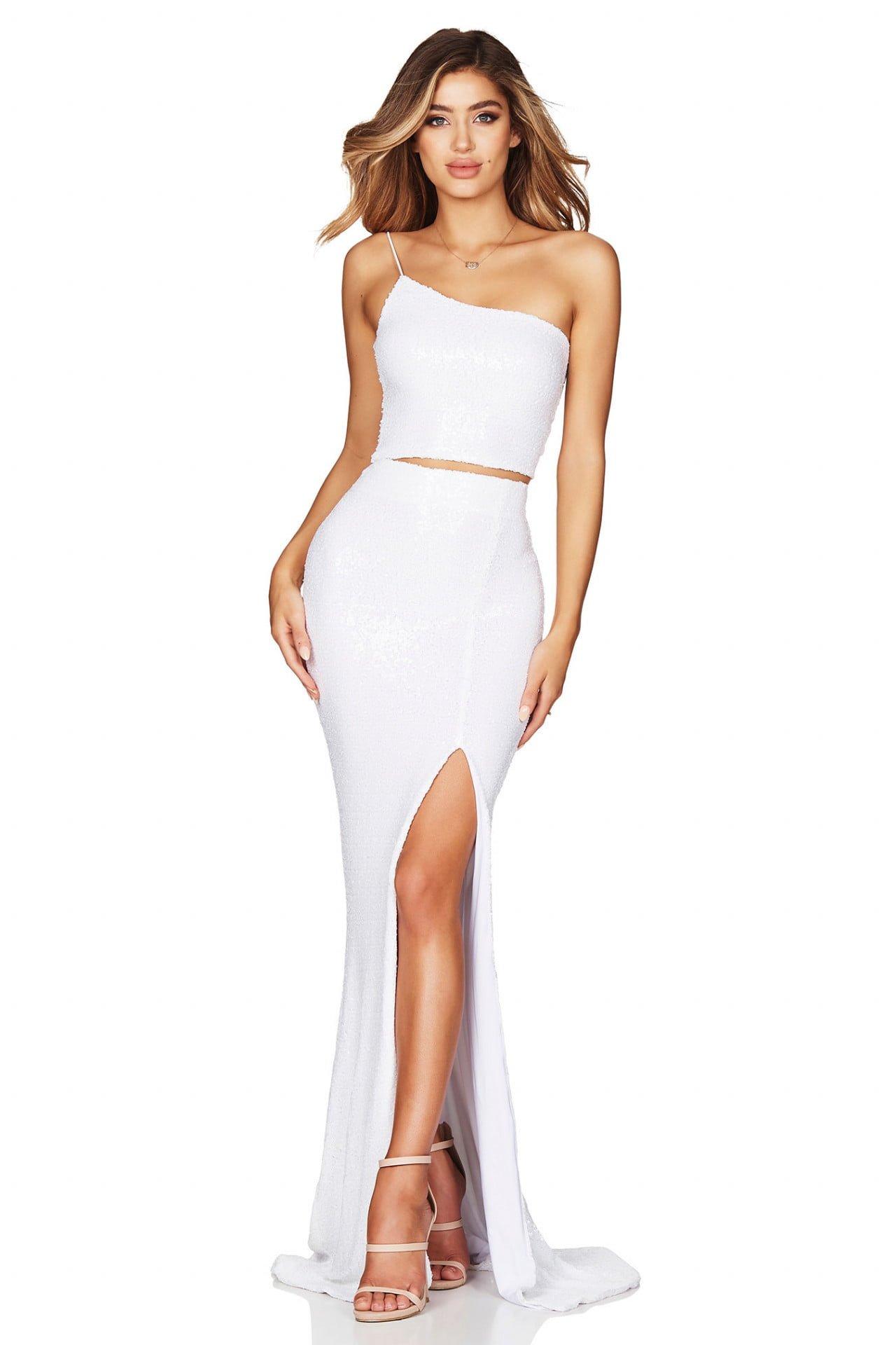 Nookie Siren Sequin Crop And Skirt Floor Length, Two-piece Set White