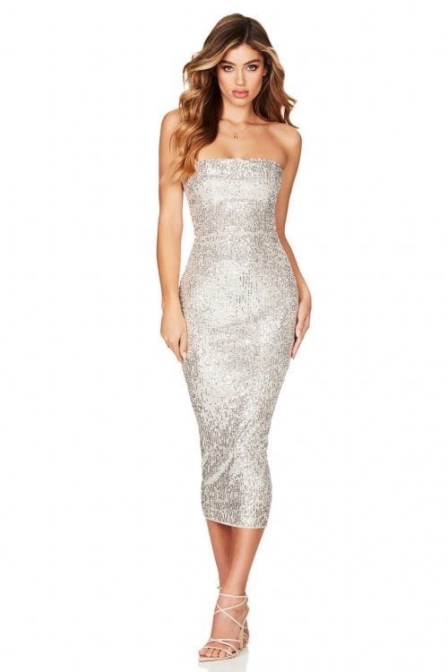 Nookie Fantasy Strapless Midi Knee Length, Midi, Strapless Silver