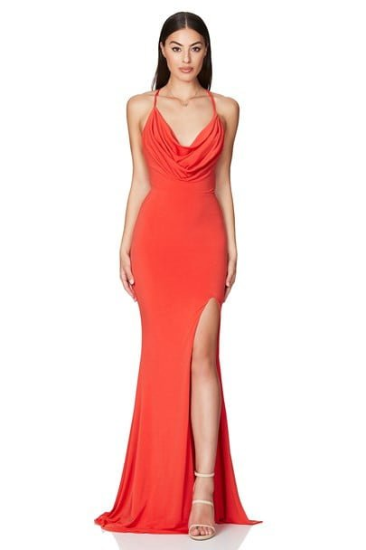 Nookie Harley Gown Backless, Floor Length Orange