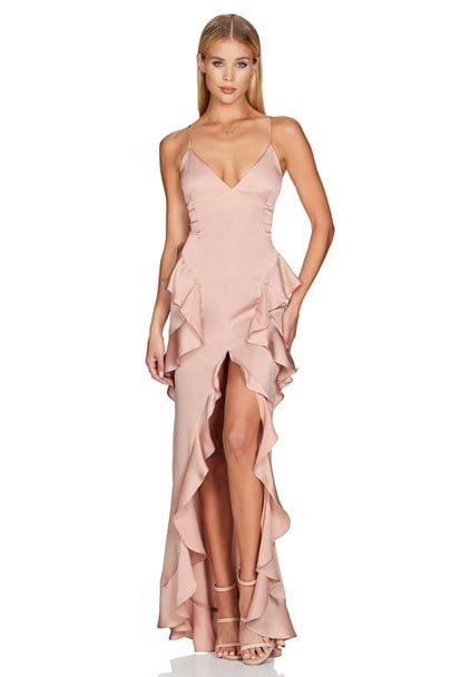 Nookie Ashton Gown Floor Length, Maxi, V-Neck Blush