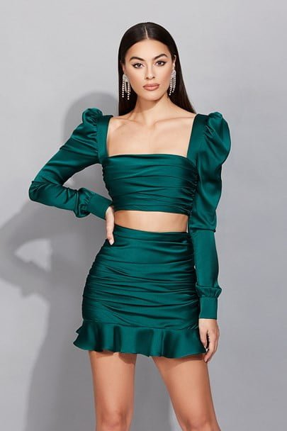 Nookie Cooper Crop & Skirt Mini, Two-piece Set Emerald