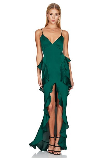 Nookie Ashton Gown Floor Length, Maxi, V-Neck Emerald