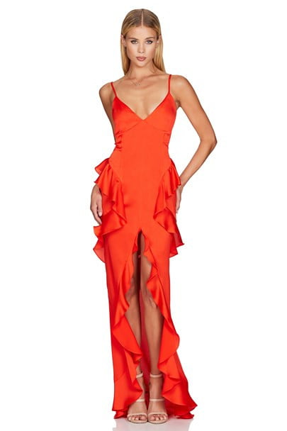 Nookie Ashton Gown Floor Length, Maxi, V-Neck Orange