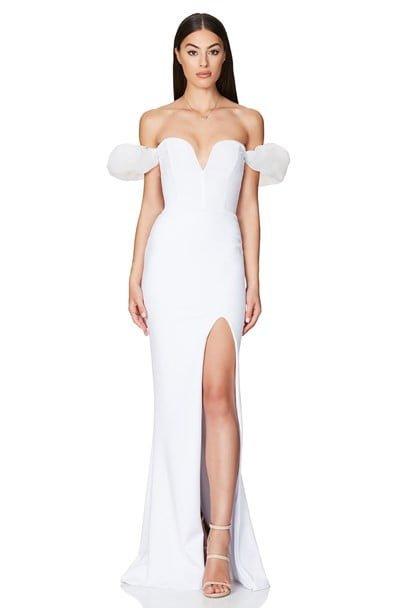 Nookie Eleganza Gown Floor Length, Off-Shoulder, Strapless White