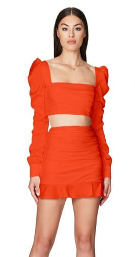 Nookie Cooper Crop & Skirt Mini, Two-piece Set Orange