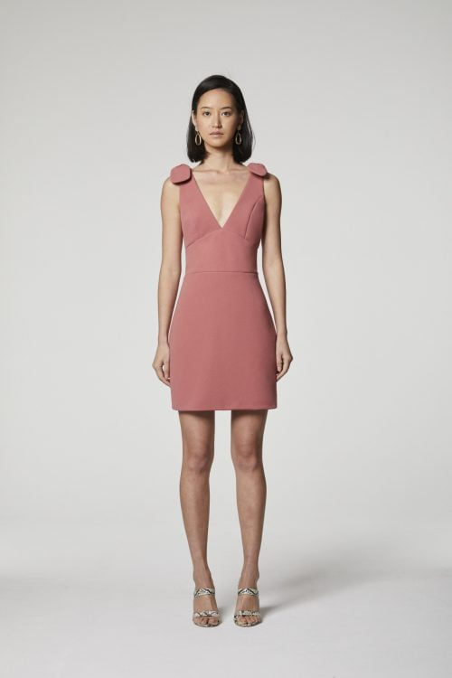 Elliatt Aster Dress Mini, V-Neck Dusty Pink