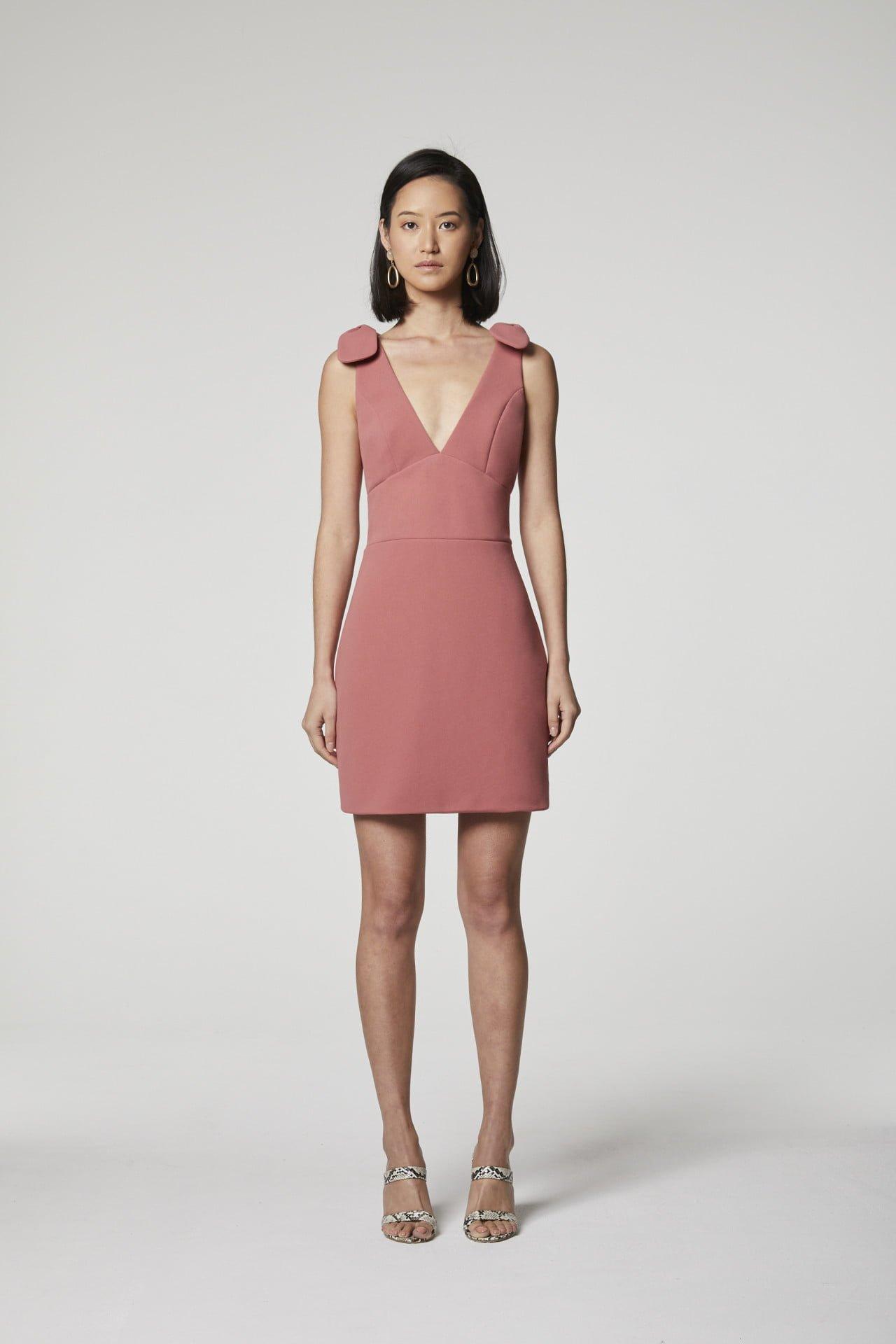 Elliatt Aster Dress Mini, V-Neck Dusty Pink