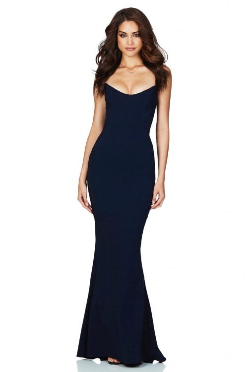 Nookie Diamond Gown Floor Length, Maxi, Strapless Navy