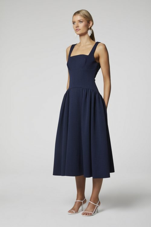 Elliatt Sammy Dress Knee Length, Midi Navy