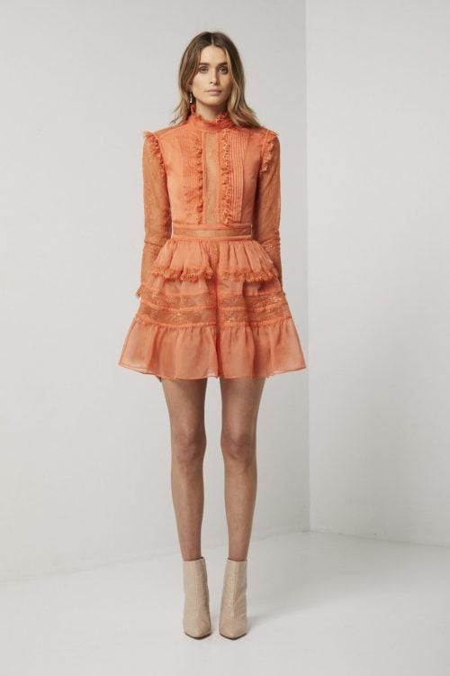 Elliatt Rosaleen Dress Long-Sleeve, Mini Orange